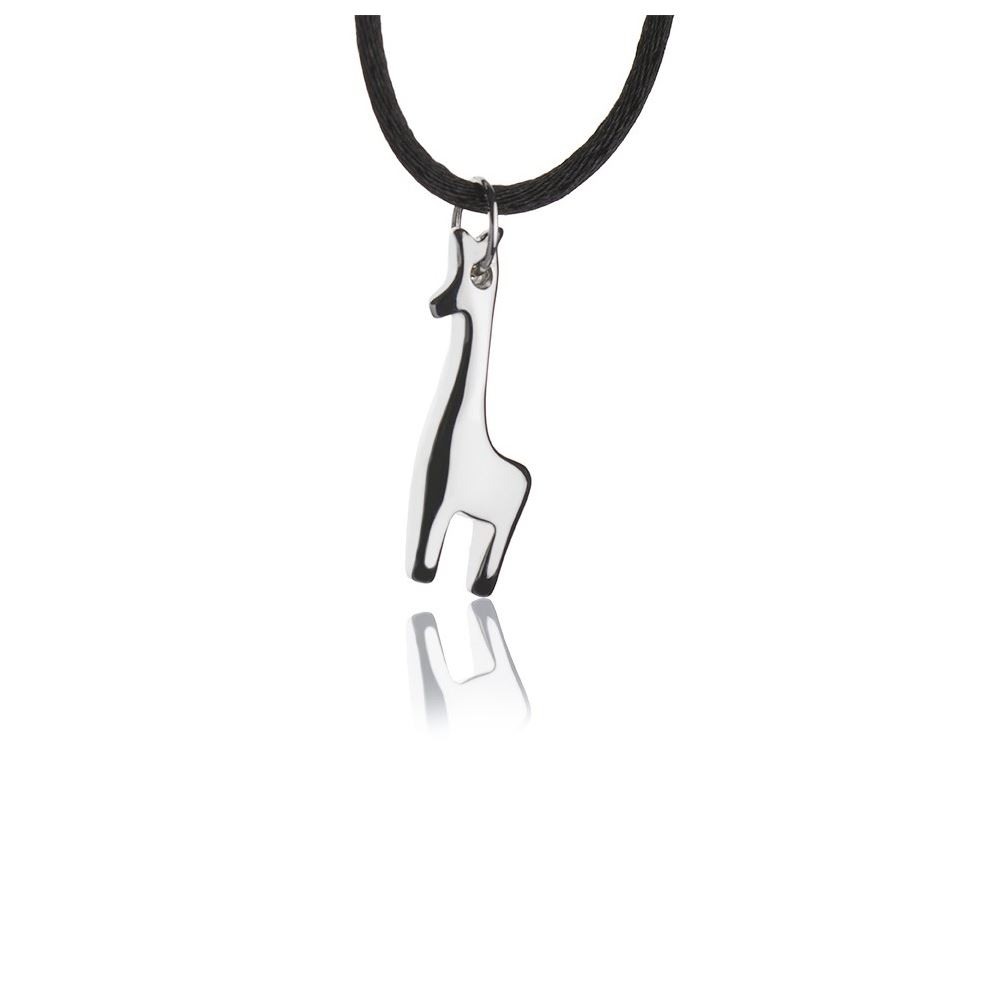 Silver necklace with large giraffe pendant
