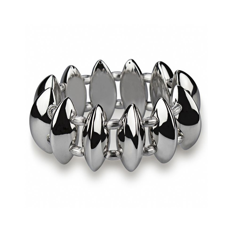 Polished Finish Stretch Silver Bracelet with Engraved Spheres