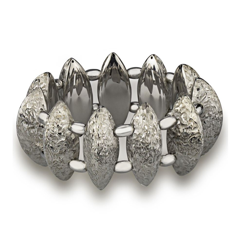 Stretch Silver Bracelet Engraved Finish with Polished Spheres
