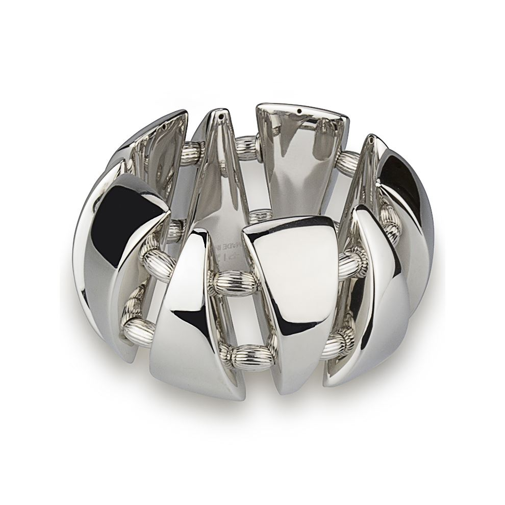 Stretch Silver Triangles Bracelet Polished Finish with Engraved Spheres