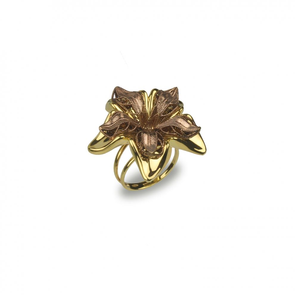 Flower Ring in Yellow Gold and Chocolate gold 18kt Large Size