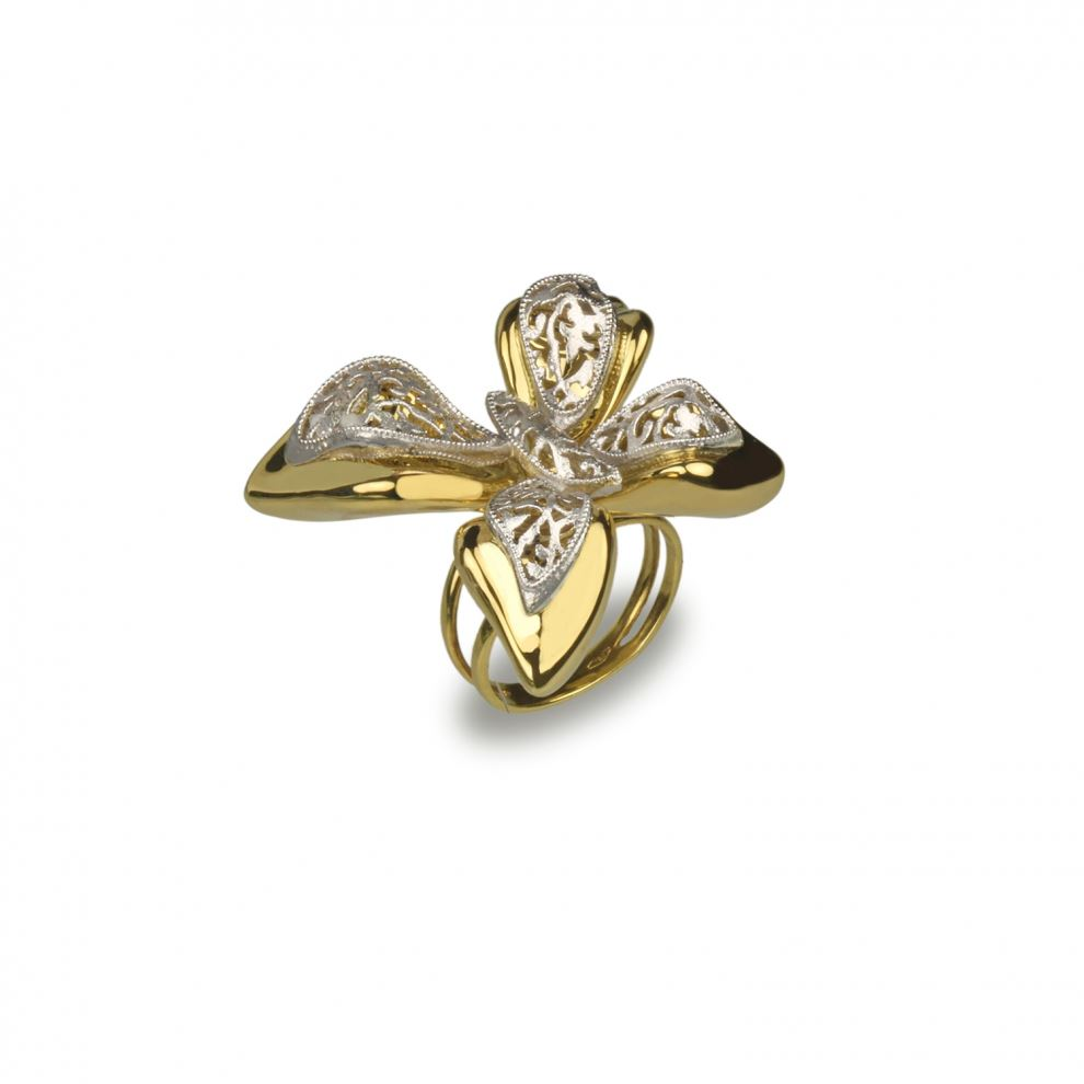Butterfly Ring in Yellow and White Gold 18kt Large Size