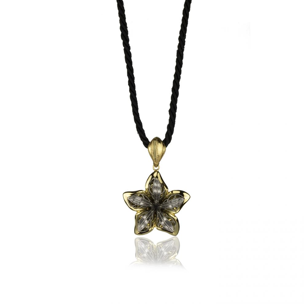 Flower Necklace in Yellow Gold and Burnished gold 18kt