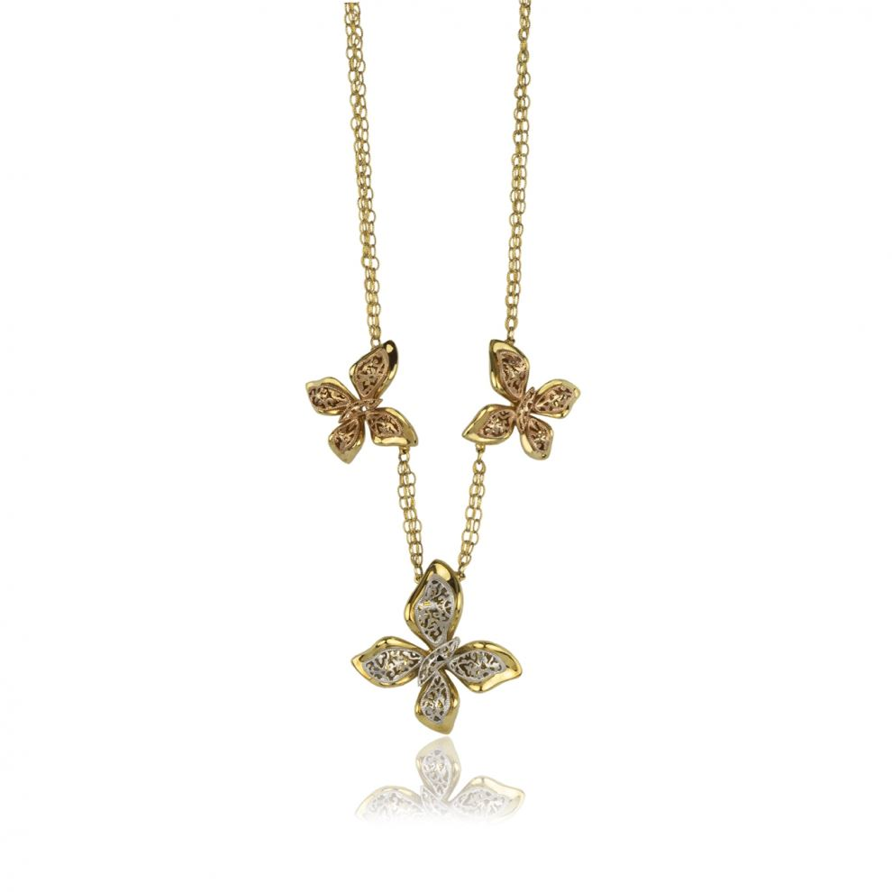 Butterflies Necklace in Yellow, Rose and White Gold 18kt with Chain