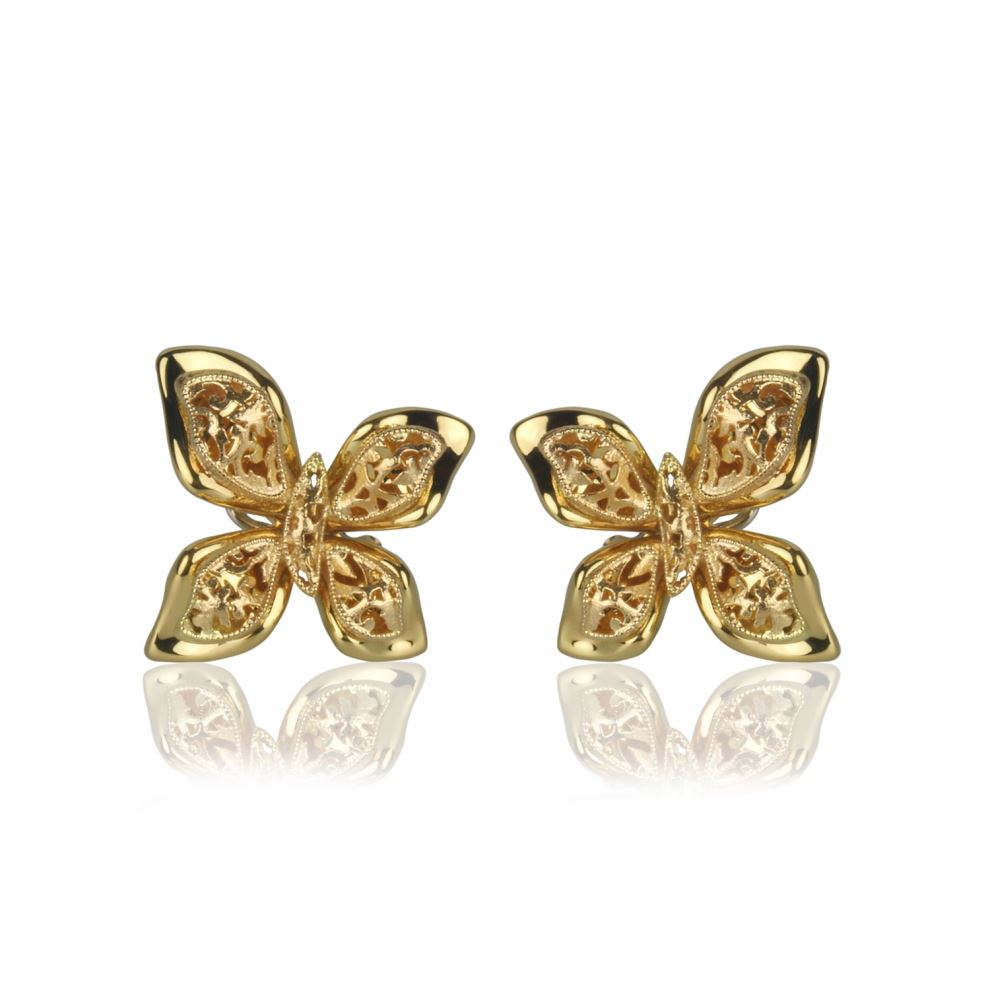 Butterfly Earrings in Yellow Gold 18kt Clip Closure