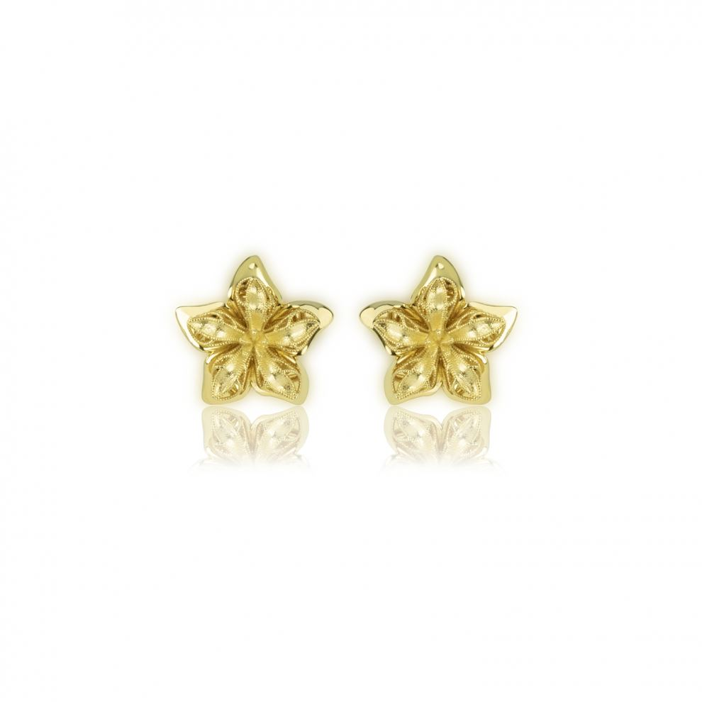 Flower Earrings in Yellow Gold 18k with Clip Closure