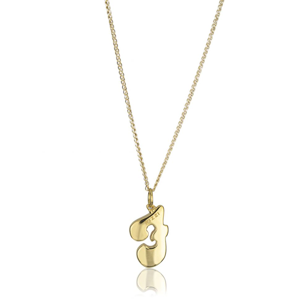 18kt yellow gold chain necklace with initial letter F