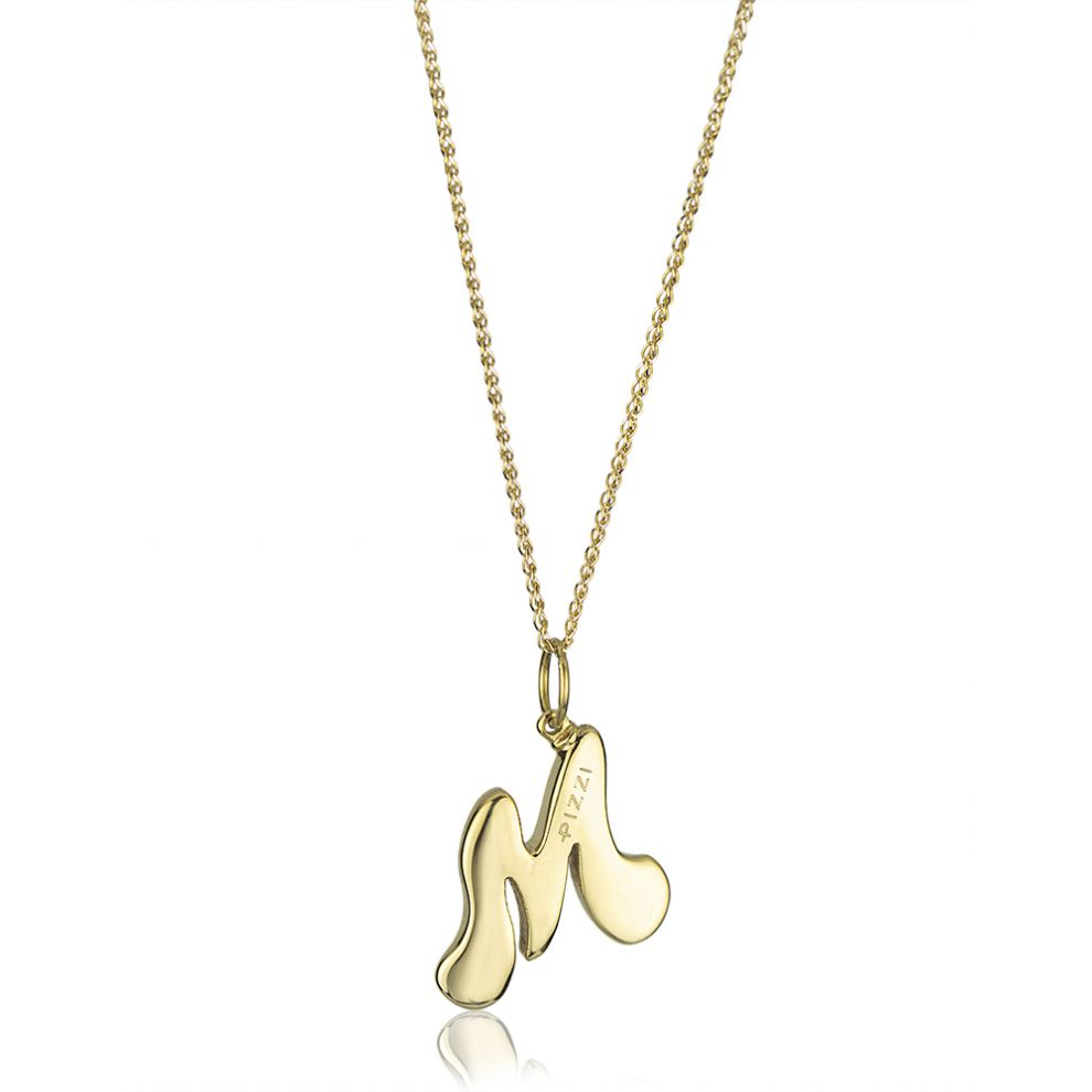 18kt yellow gold chain necklace with initial letter M