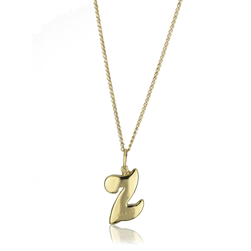 18kt yellow gold chain necklace with initial letter Z