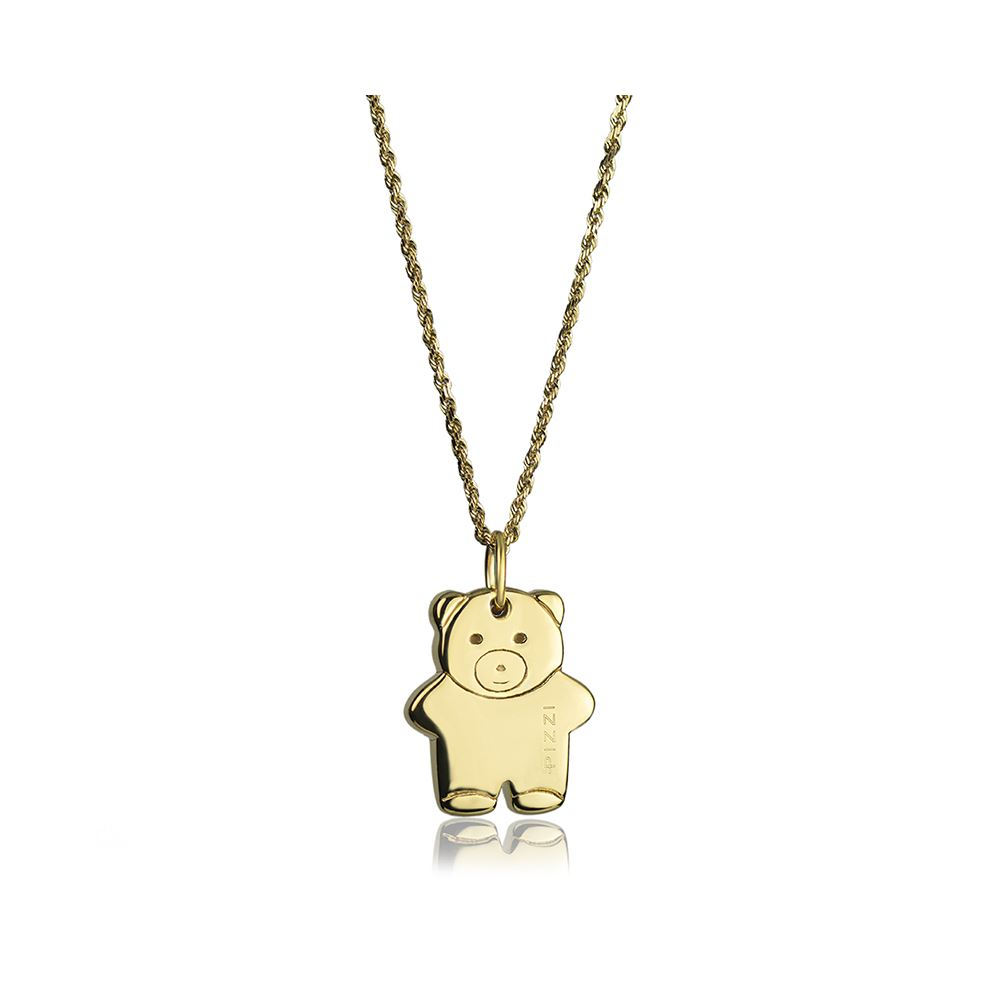 18kt yellow Gold Chain Bear Necklace