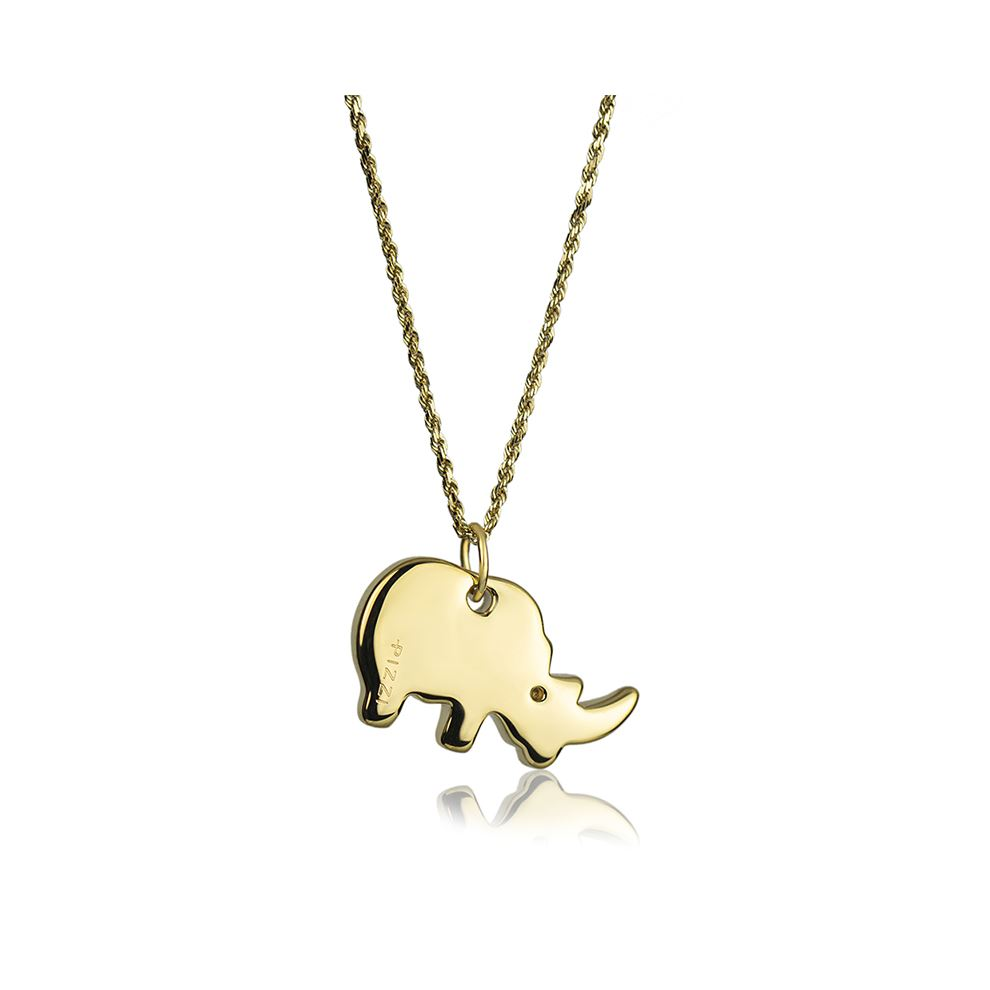 18kt yellow Gold Chain Rhinoceros Necklace