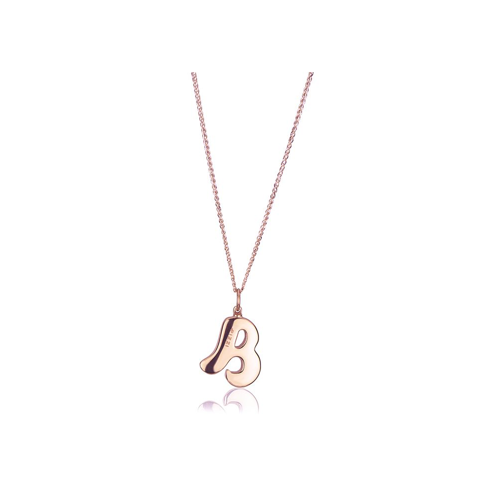 18kt rosegold chain necklace with initial letter B