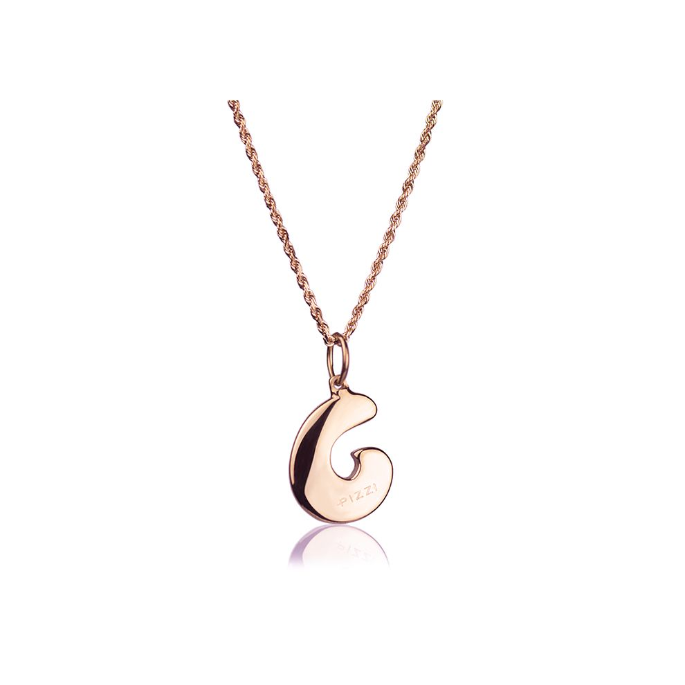 18kt rose gold chain necklace with initial letter C