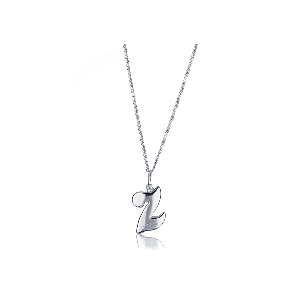 18kt White gold chain necklace with initial letter Z