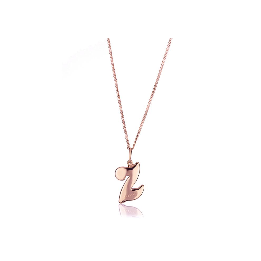 18kt rose gold chain necklace with initial letter Z