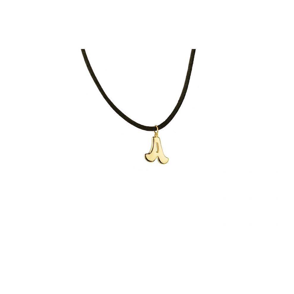 yellow Gold 18kt Necklace Initial Letter A