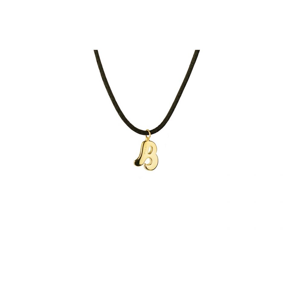 Yellow Gold 18kt Necklace Initial Letter B