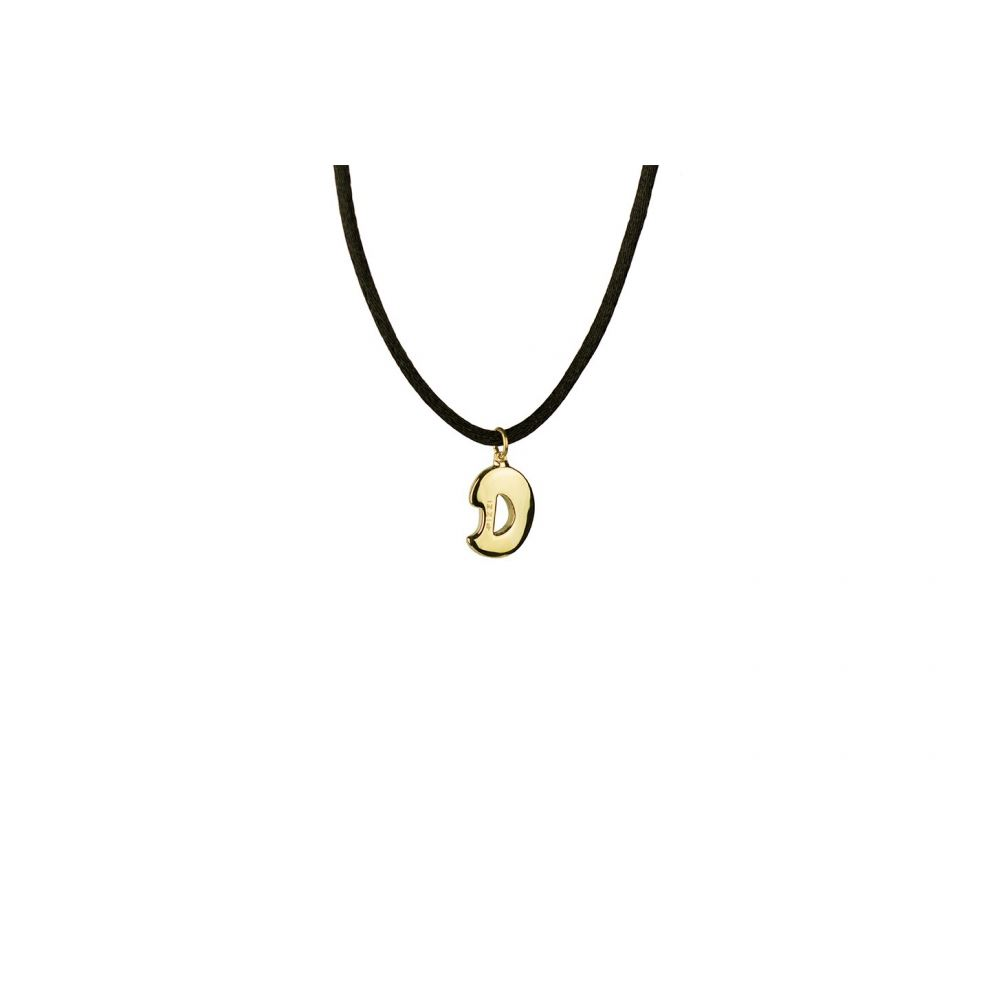 18kt yellow gold chain necklace with initial letter D