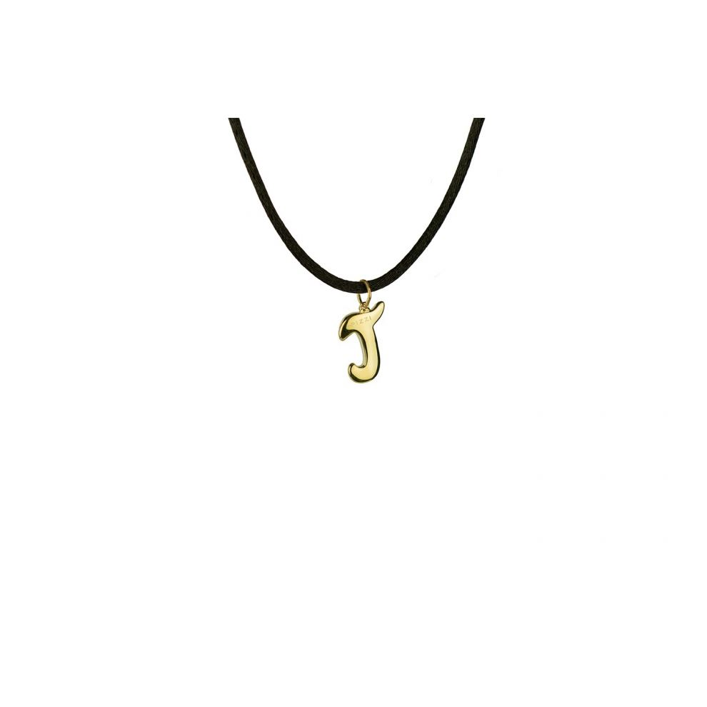Yellow Gold 18kt Necklace Initial Letter J