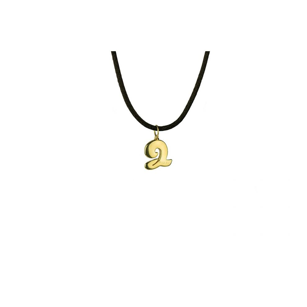 Yellow Gold 18kt Necklace Initial Letter Q