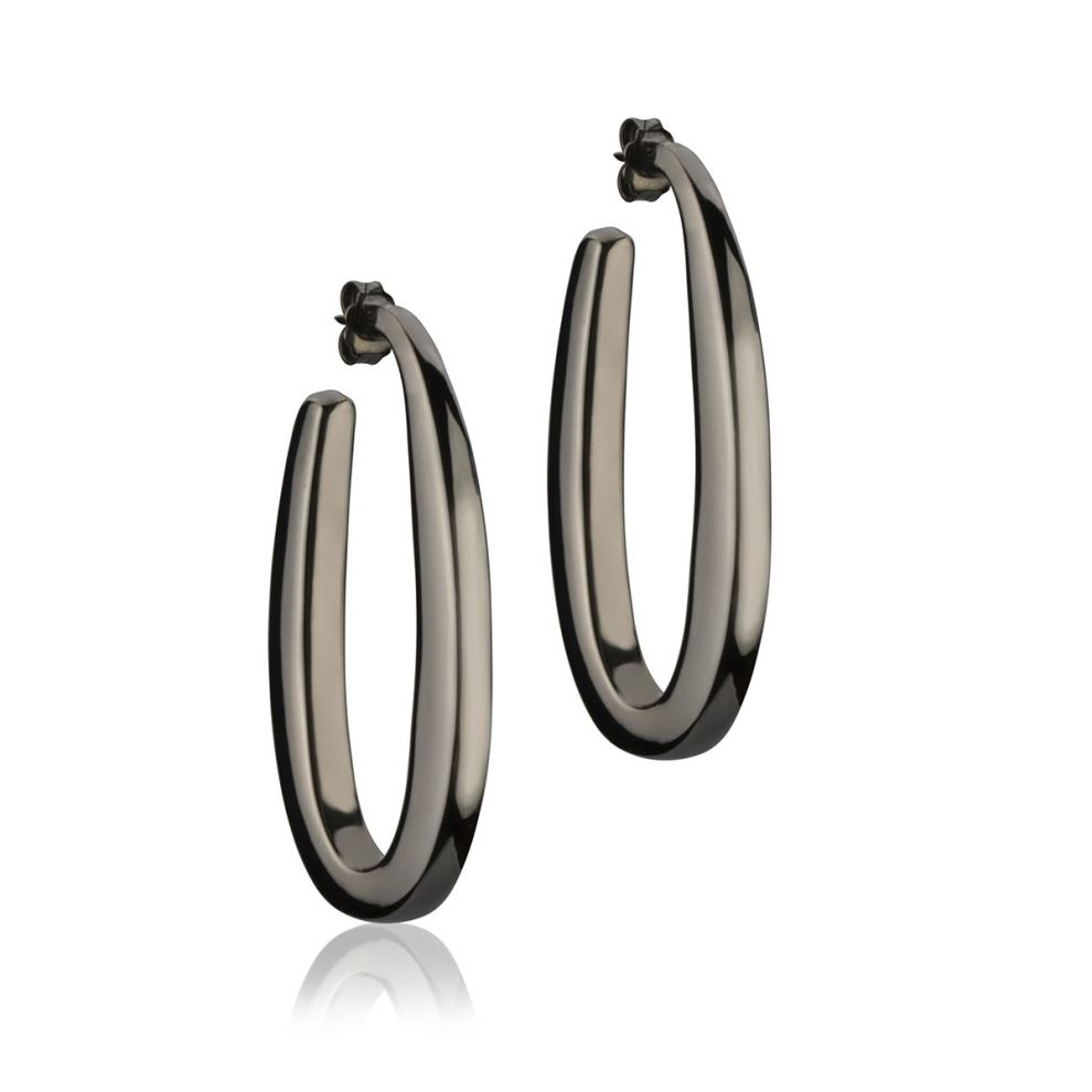 Square section oval silver ruthenium earrings