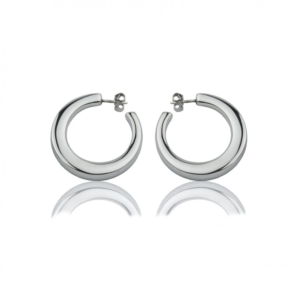 Square section silver hoop earrings