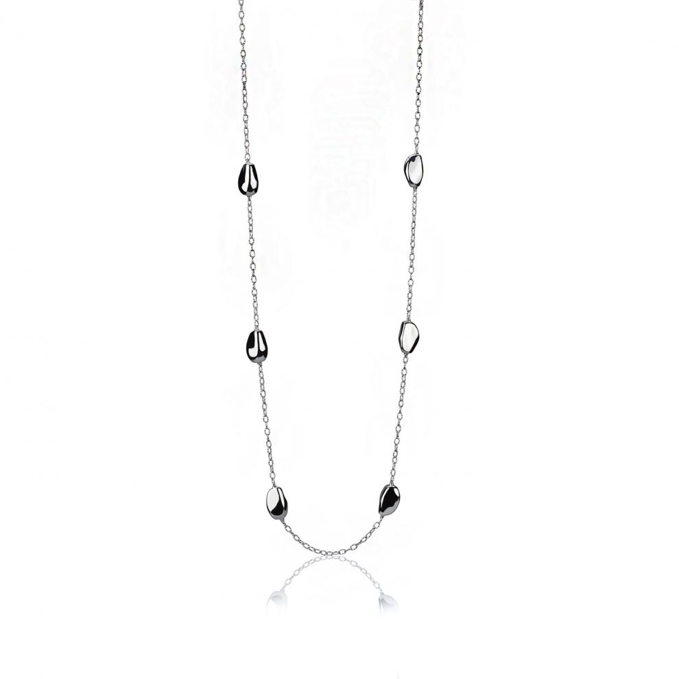 Long silver necklace with shiny elements