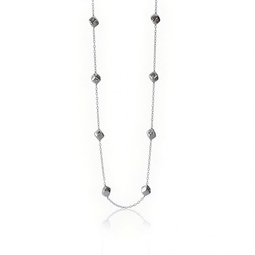 Long Silver Necklace with Satin Rhombus Elements