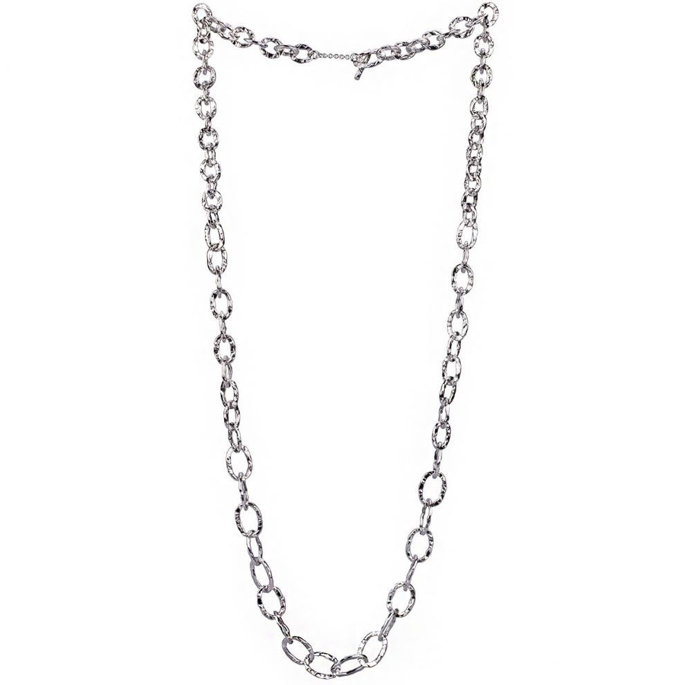 long hammered silver necklace