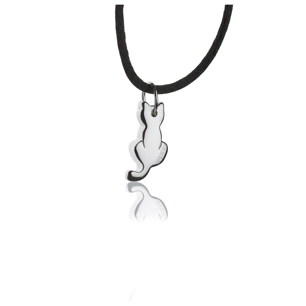 Silver necklace with cat pendant